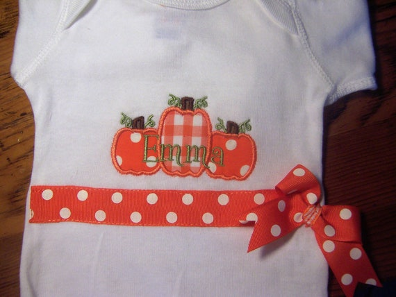 Personalized Halloween ones piece, or Halloween Shirt,  Pumpkin patch, with ribbon band and bow, orange dots and gingham