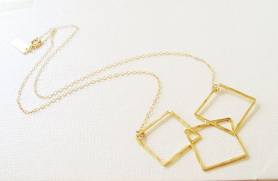 Geometric Gold Necklace, Square Necklace in Gold,
