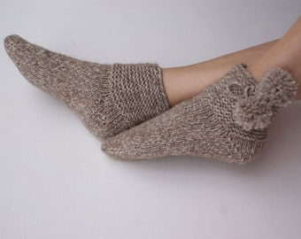 Hand knitted womens Thick wool Socks  Village alpaca Superwash Wool woodland rustic