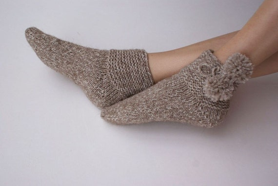 Hand knitted womens Thick wool Socks  Village alpaca Superwash Wool woodland rustic