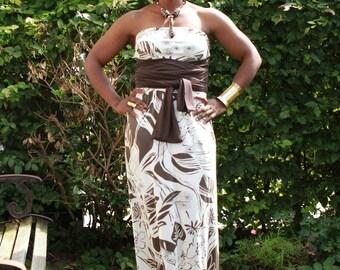 Lycra stretch long dress. Strapless long belt with multi wear