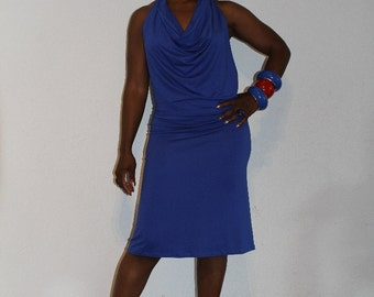 Dress, blue sexy sassy with a cowl neck, multiwear. Knee length blue dress good for clubbing or just a fun day out: Blue lagoon