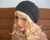 Womens Hat Crochet Slouchy Hat Winter Fashion Accessories Women Beanie Hat in Charcoal Grey by creationsbyellyn