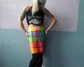 Vtg 80s High Waisted Skirt / Color Block / Platinum Dorothy Schoelen