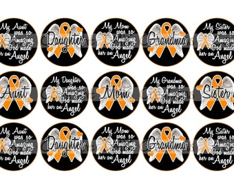 Leukemia Remembrance Angels 1 Cancer Awareness Female Orange Ribbon Bottle Cap Images 4x6 Printable Bottlecap Collage INSTANT DOWNLOAD