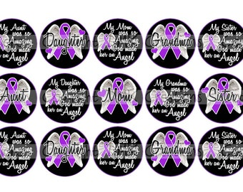 Cancer Remembrance Angels 1 Female Family Purple Ribbon Bottle Cap Images 4x6 Printable Bottlecap Collage INSTANT DOWNLOAD
