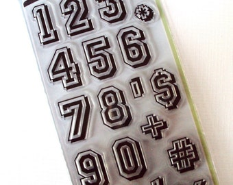 Varsity Numbers Clear STAMP 21 pieces by Inkadinkado
