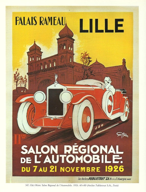 Antique French Chrysler CAR, AUTOMOBILE advertising poster ready to frame - 1920s GEO Ham