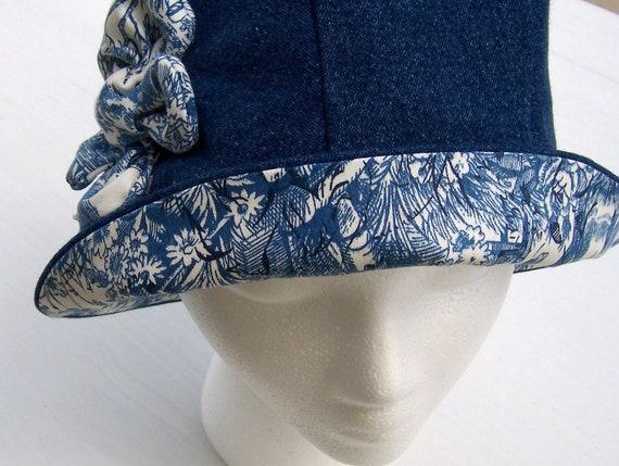 Cloche Hat Women Chemo Denim Blue Toile Flower Tatting Accent Downton Abbey Style