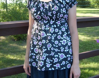 Adorable Maternity Nursing/Breastfeeding Shirt---READY MADE---Size XS---Easy Elastic Access For Nursing, Great Fit For Maternity