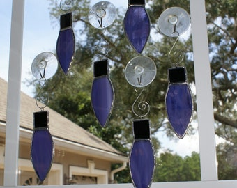 """Grape and White Wispy Glass Holiday """"Light"""" Ornament - Old World Look - Holiday Package Embellishment"""