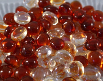 """Sunset Fire Collection  -  Flat Backed 1/2"""" Gems Mosaic Nuggets 60 Count - Larger Package"""