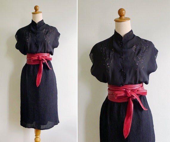 Vintage Sheer Eyelet Embroidered Black Dress with Crepe Finish M or L