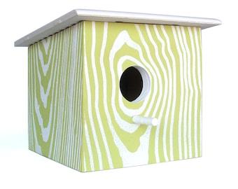 Modern Faux Wood Grain Birdhouse - Nest Box - Green White