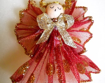 Angel,  Red & Gold Ornament for Holiday Joy, For the Tree, or for giving