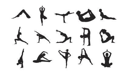 yoga silhouettes stamps set of 15 rubber stamps fitted into