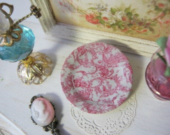 Pink Toile Plate for Dollhouse