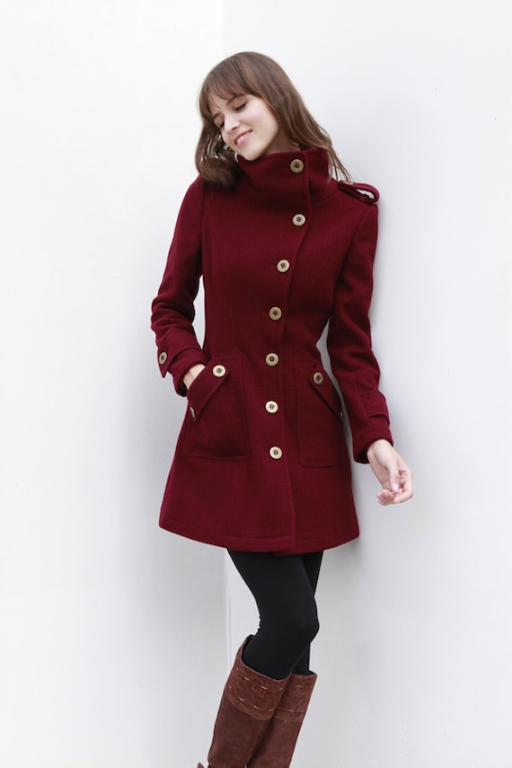 Wine Red Coat Fitted Military Style Wool Winter by ...