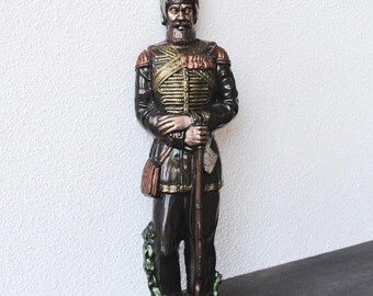 Vintage Wall Art Plaque, Large Soldier Military Russian Uniform & Arms, Cast Plaster Chalkware 17""