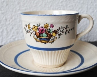 Vintage Rorstrand Sweden Tea Cup Saucer, Flower and Fruit, Ribbed Embossing & Blue Bands