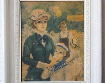 Vintage Painting Framed Art Lithograph in Whitewash Frame, Large HULDAH Woman & Child at Street Carnival