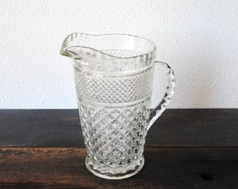 Wexford Glass Water Pitcher, Huge Anchor Hocking Criss Cross Iced Tea, 1960s Vintage