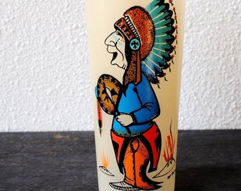 Old Gas Station Novelty Drink Glass, Yellow Kitsch Indian Dancer Cartoon Art Signed Collectible