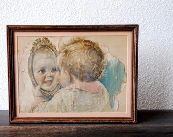 Antique Framed Print Baby in Mirror, Fabulous Shabby Chic Copper Frame