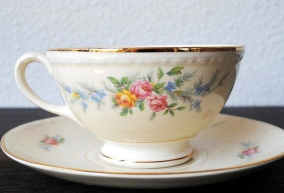 Homer Laughlin Cashmere Tea Cup and Saucer, Eggshell Georgian China Set