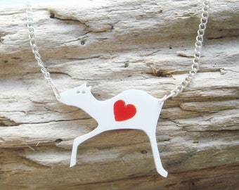 Pamela the Deer laser cut acrylic necklace with a swappable coloured heart