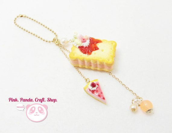 Reserved ---- Butter cookies and cream charm with strawberry mousse tart polymer clay keychain