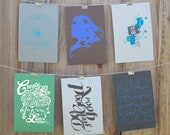 Set of Six Postcards, Tree Lines, Create Play, Do Good, Be a Hero, Kindness, Charity:Water, Proceeds donated back to charity