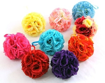 "7"" Silk Rose Wedding Flower Hanging Ball Decorations Floral Supplies Kissing Balls"