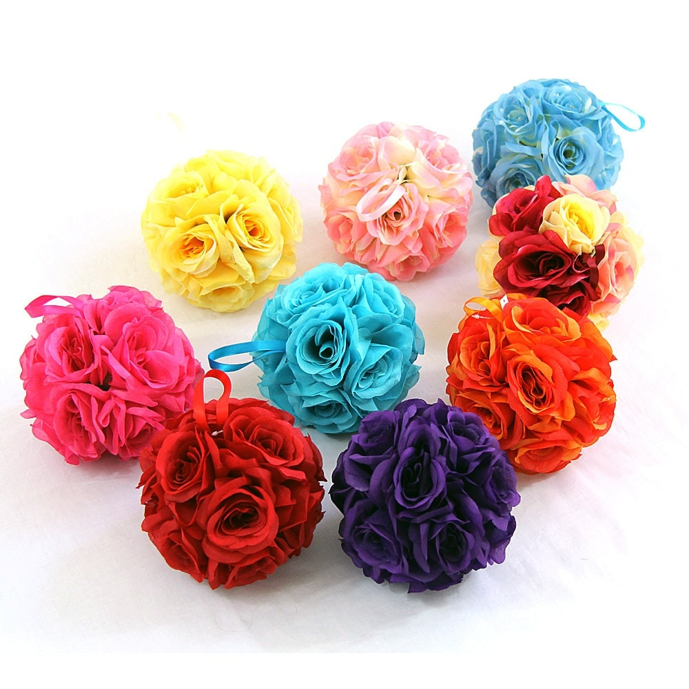 7 Inches White Flower Ball: 7 Silk Rose Wedding Flower Hanging Ball Decorations