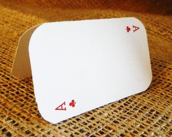 SET OF Vegas Poker Place or Escort Cards - Tented Style custom colors available