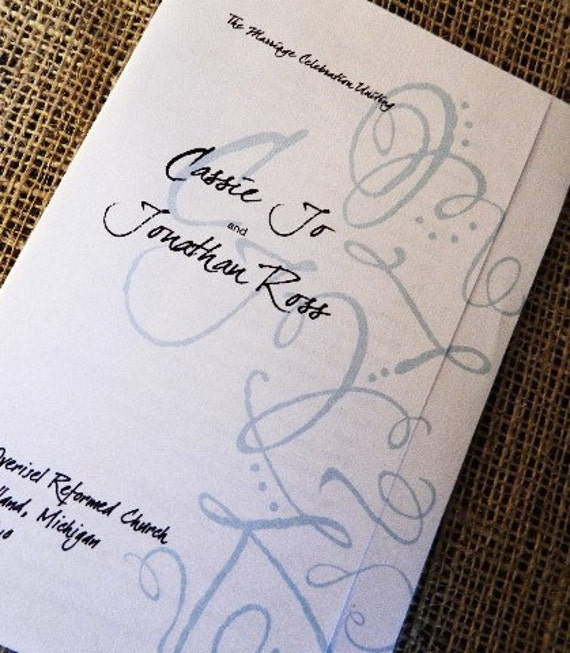 SET OF 25 Very Unique - Folded Style Wedding Programs custom colors available