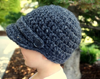 Crochet Newsboy Hat, Baby Boy to Preschool Sizes, Charcoal