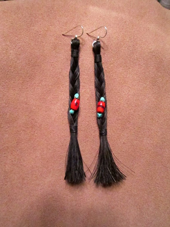 Black Horse Hair Earrings with Natural Turquoise and Coral
