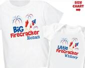 Big Firecracker 4th of July Shirt & Little Firecracker 4th of July Shirt or Bodysuit - 2 Personalized Sibling Shirt