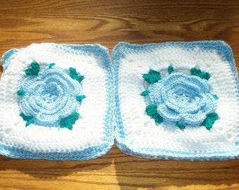 Light Blue Rose Potholder Set - Set of 2
