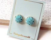 Summer Gold Flower Stud Earrings - Blue