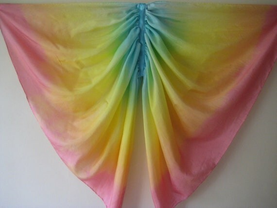 Butterfly Costume, Double Rainbow Silk Fairy Wings