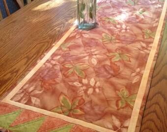 Table Runner - Quilted Table Runner - Falling Leaves Table Runner