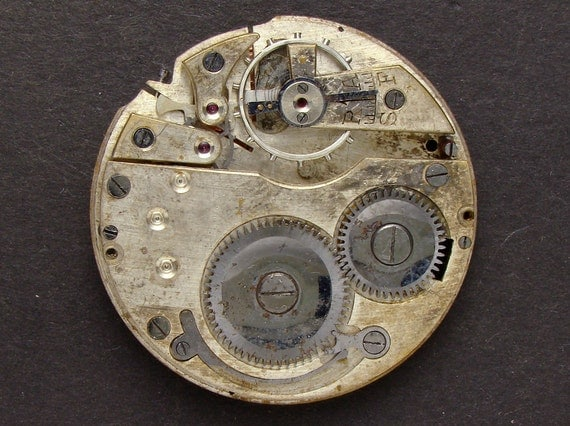 Antique Vintage 1930's pocket watch movement brass silver watch parts gears cogs wheels, altered art jewelry Steampunk Art Supplies 2320