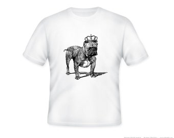 Royal Bulldog with Vintage Crown Illustration on Adult Tshirt  -- other tshirt color and personalization available - adult sizes S-3XL