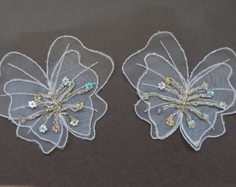 2pc Large Organza Sequin Butterfly Applique