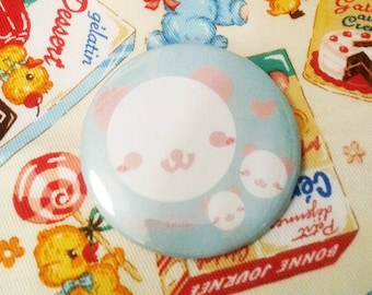 Happy bear pink pinback button 2.25 inch