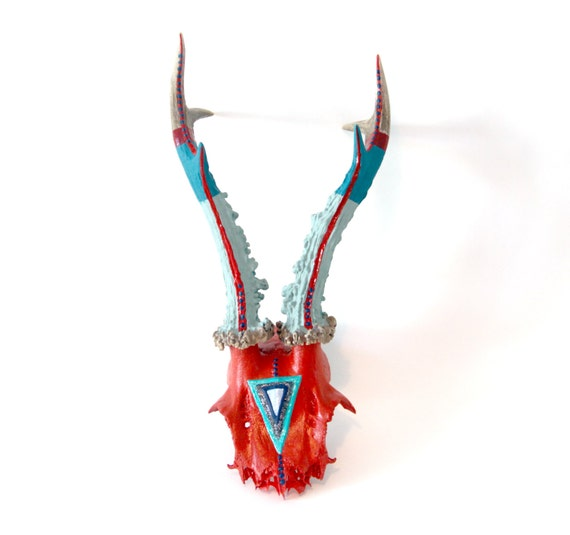 RED, TEAL & SEAFOAM geometric aztec design painted vintage deer skull and antlers with 3d navy dots