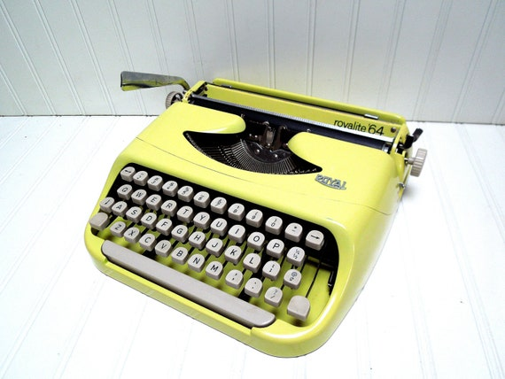 RESERVED for Amy -- Vintage Typewriter Yellow Royal Royalite '64 Portable Manual Typewriter