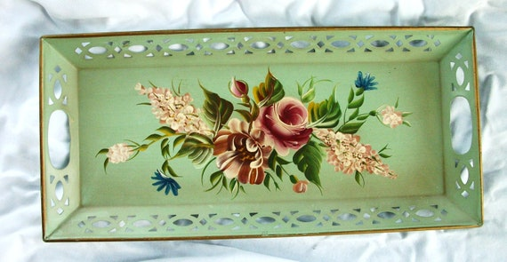 Hand Painted Vintage Metal Tray - Green - with Roses - Cottage - Shabby - Pierced Metal - toleware